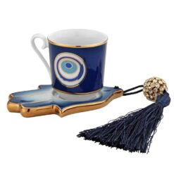 Evil Eye And Hamsa Hand Designed Porcelain Turkish Coffee Set For One Person