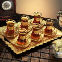Arabic Tea Set For Six With Tray And Sugar Bowl