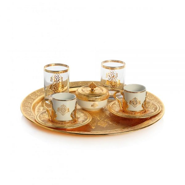Gold Colour Espresso Coffee Set Cups Set For Two With Glasses