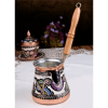 Hand Carved Wood Handle Copper Turkish Coffee Maker