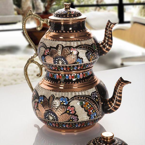 Hand Painted Large Copper Turkish Tea Pot  Samowar Style