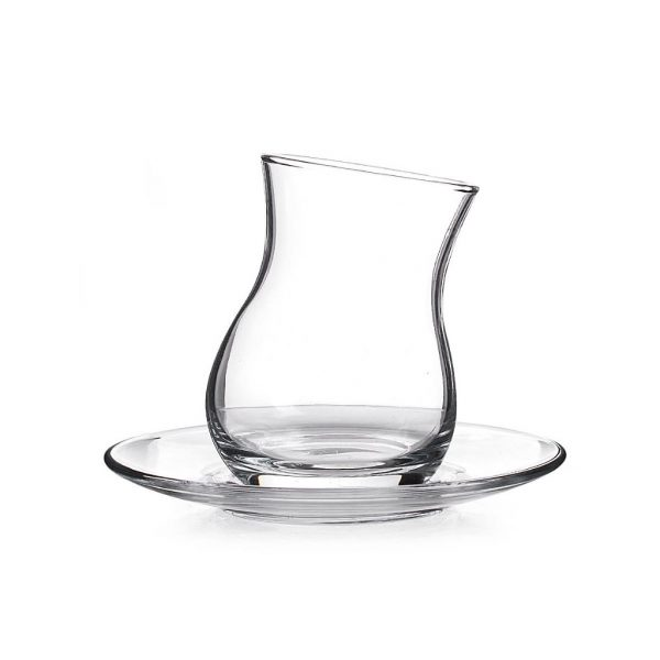 Thin Waist Tea Glasses Set With Saucers Leaning Style