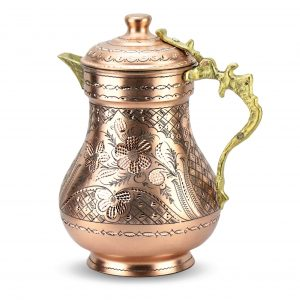 Turkish Handmade Copper Pitcher Hand Carved
