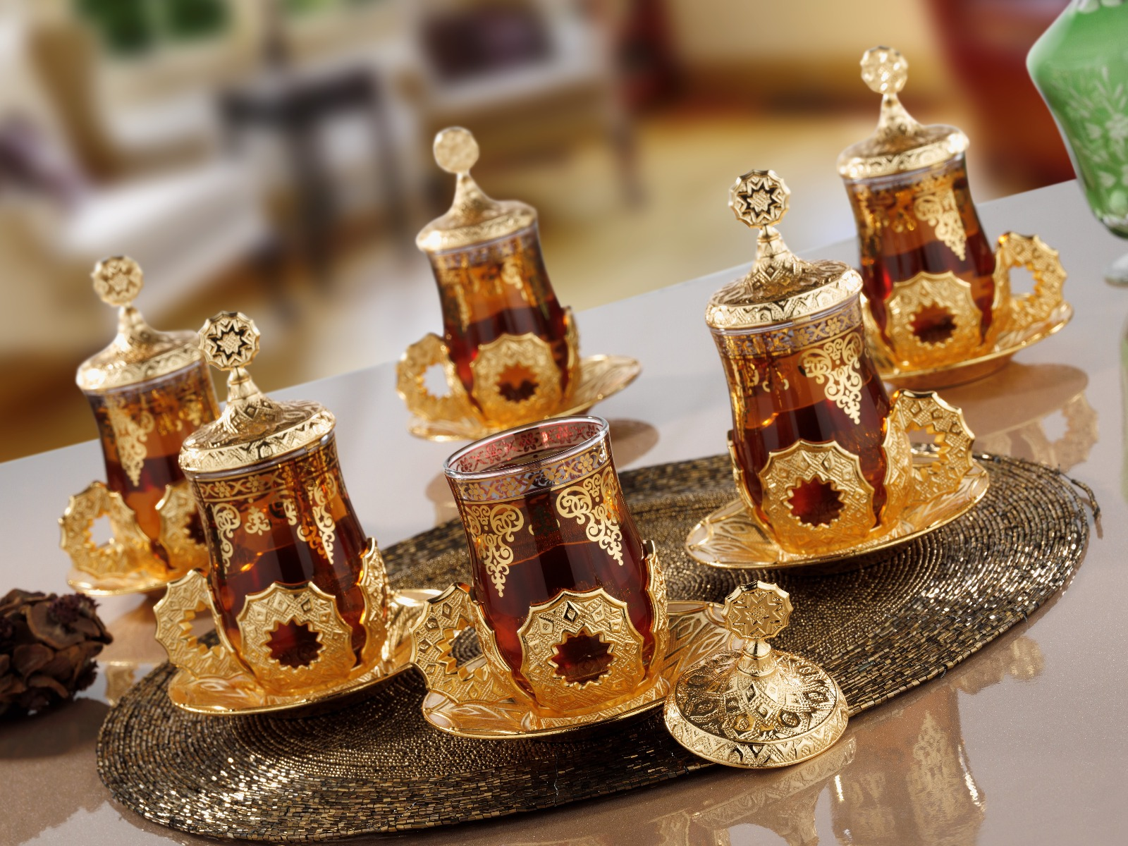 Latest Model Turkish Arabic Tea Cups Set Gold Color