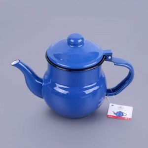 Vintage Style Enamel Turkish Tea Pot Blue Color