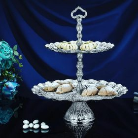 Two Tier Oval Silver Plated  Fruit - Cookie Serving Tray