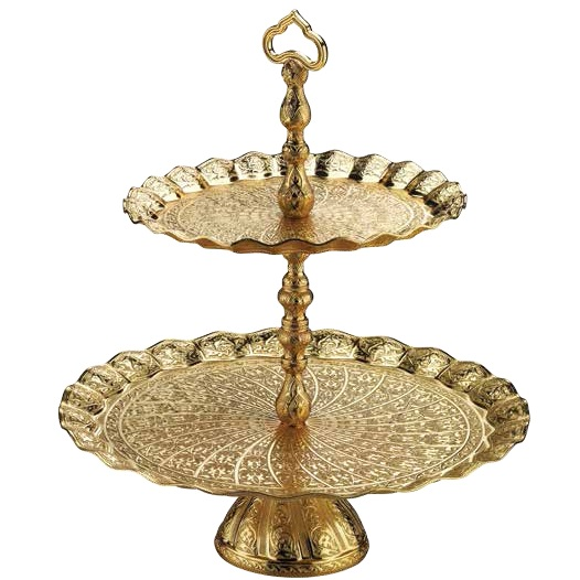 Two Tier Oval Gold Colour Fruit Serving Tray