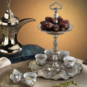 Silver Mırra Turkish Coffe Cups Set With Serving Tray