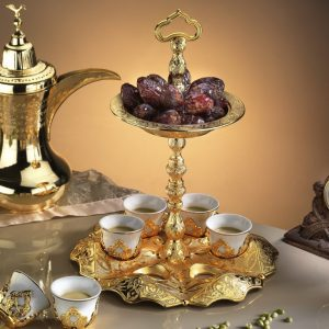Golden Mırra Turkish Coffe Cups Set With Serving Tray