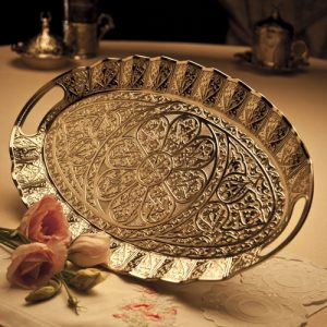 Ellipse Silver Plated Decorative Ottoman Serving Tray