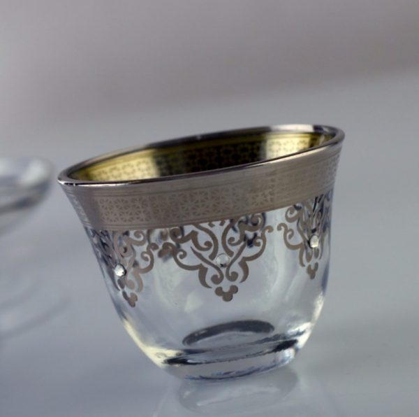 Gold Plated Glass Arabic Coffee-Mirra Cups For Six Person