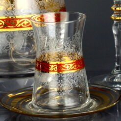 6x Gold Color Arabic Tea Glasses Set With Saucers