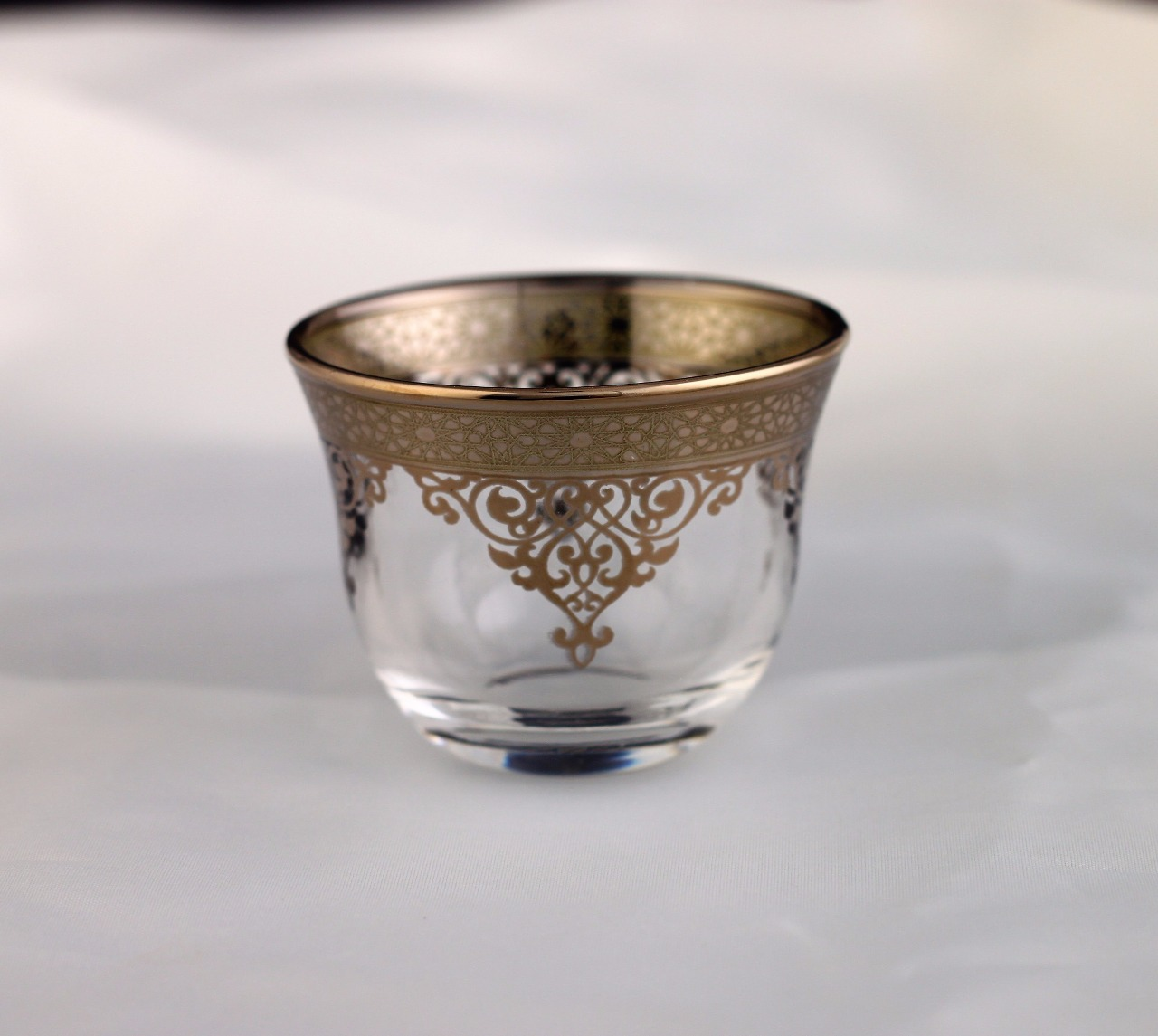 White Gold Plated Arabic Coffee Mirra Cups Six Pieces
