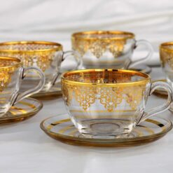 Large Gold Plated Coffee Mugs-Tea Glasses For Six Person