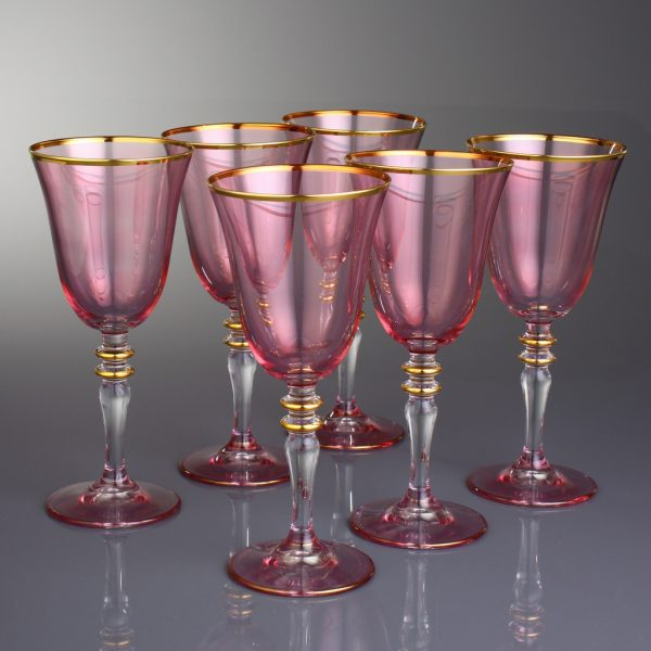 Pink Gold Decorated Fashion Wine Glasses Set