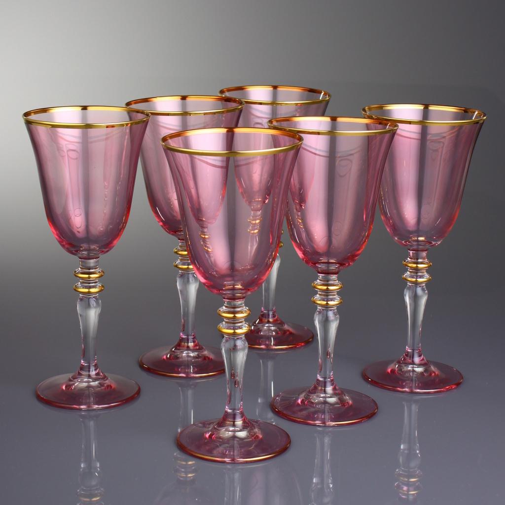 Pink Gold Decorated Fashion Wine Glasses Set Fairturk Com