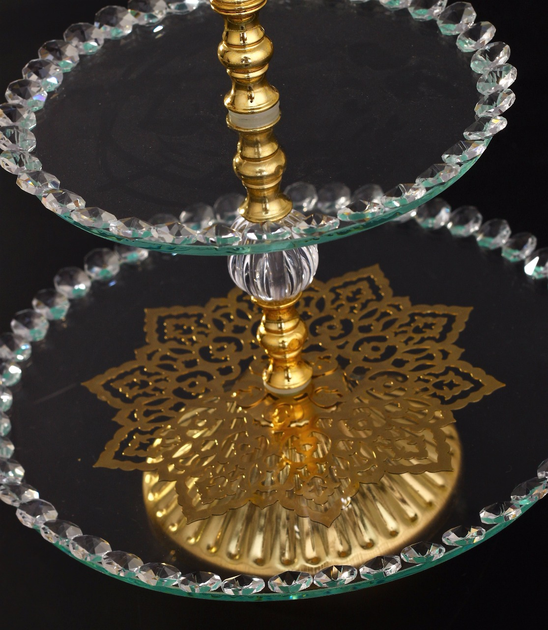 Ottoman Style Two Tier Round Glass Serving Tray Fairturk Com
