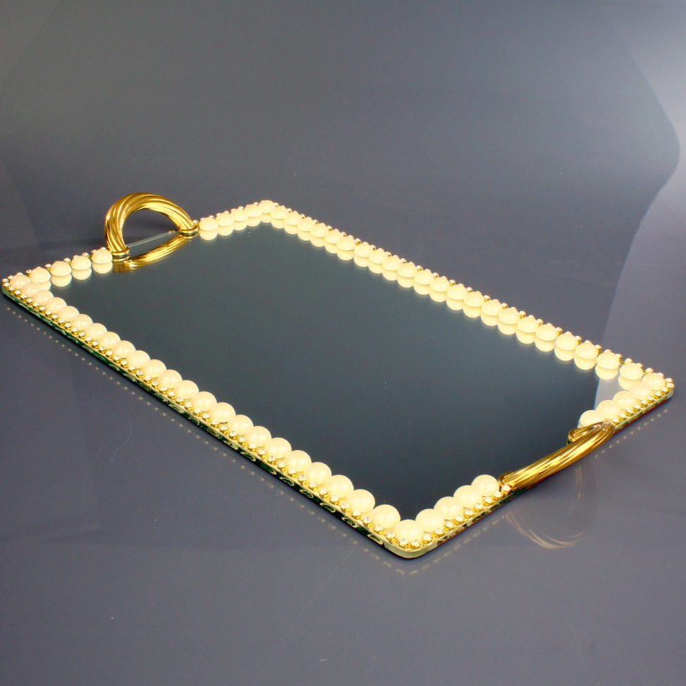 Golden Rectangle Mirror Vanity Ottoman Serving Tray
