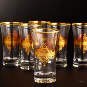 Gold Rimmed Arabic Style Beverage- Water Glasses Set