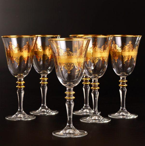 Gold Rimmed Middle Eastern Style Wine Glasses Set