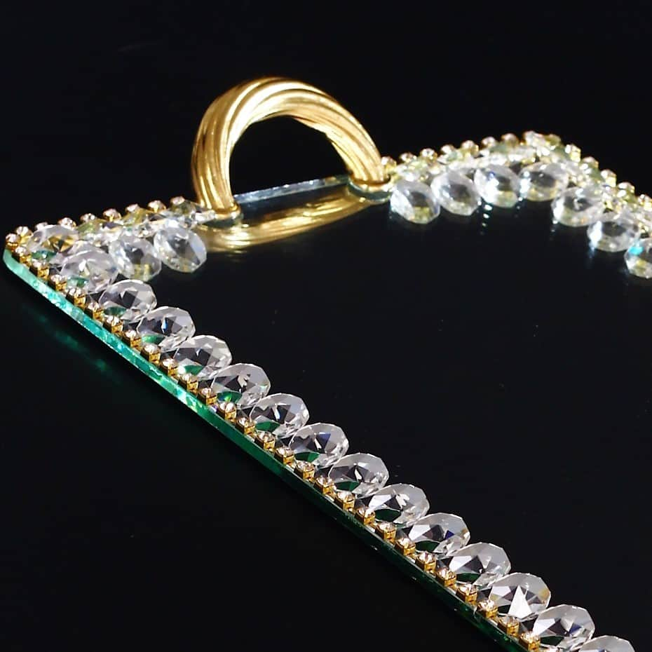 Golden Rectangle Mirror Vanity Ottoman Serving Tray