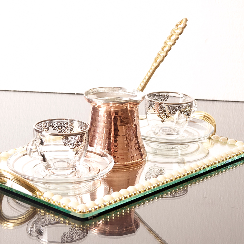 Silver Arabic Coffee Set For Two Person With Coffee Pot