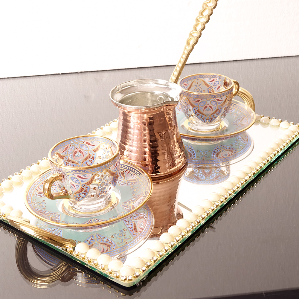 Ethnic Turkish Coffee Set For Two Person With Coffee Pot