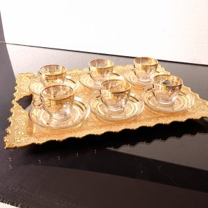 Arabic-Turkish Coffee Cups Set For Six Person With Metal Tray
