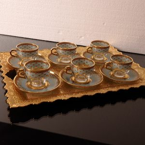 Ethnic-Turkish-Espresso Cups Set For Six Person  With Metal Tray