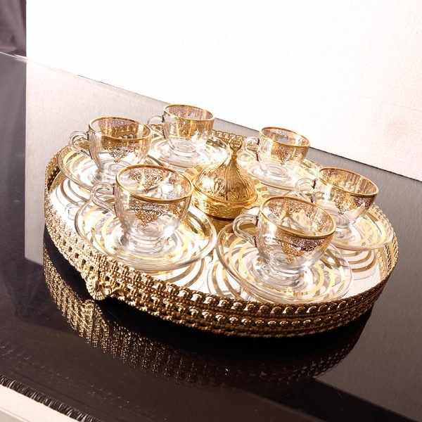 Arabic Gold Colour  Coffee Set For Six Person With Mirror  Vanity Tray