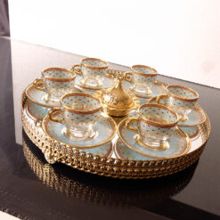 Arabic Coffee Set For Six Person With Mirror  Vanity Tray
