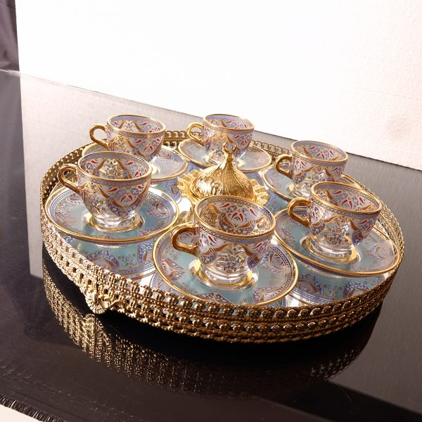 Turkish Coffee Set For Six Person With Mirror Tray