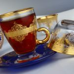 arabic tea cups with handle blue saucer