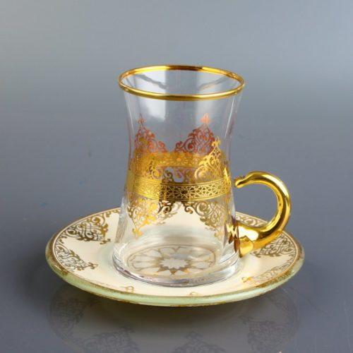 gold tea set with handle
