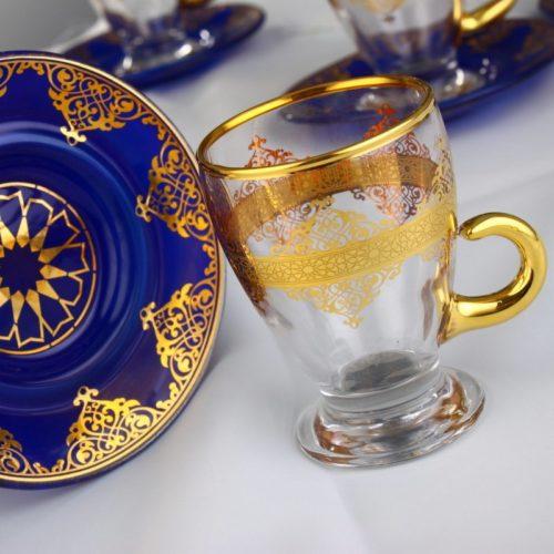 blue arabic tea cups with handle
