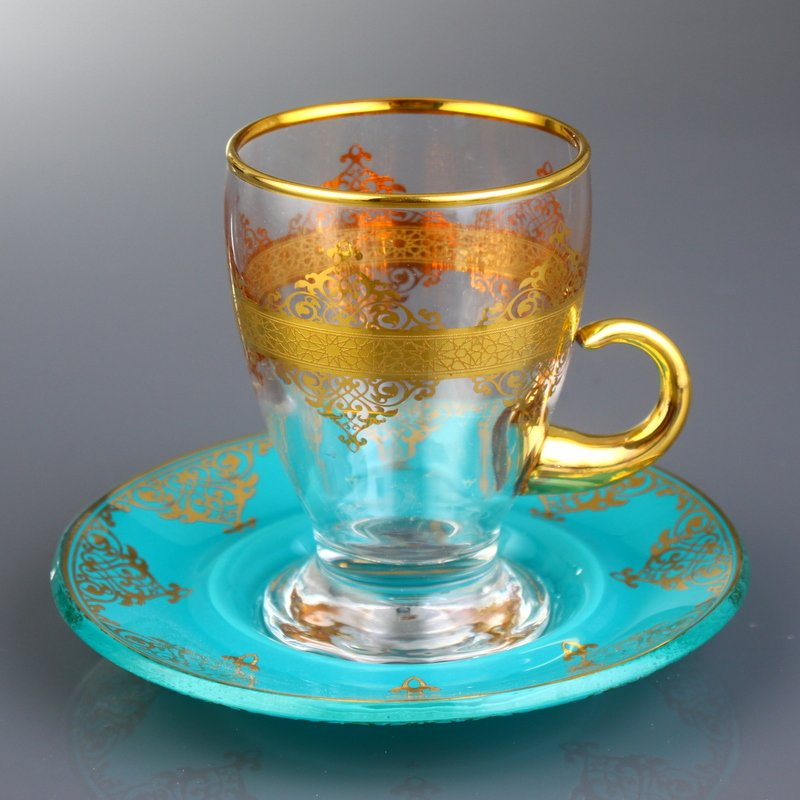 Gold Arabic Tea Set With Turquoise Saucers For Six Person