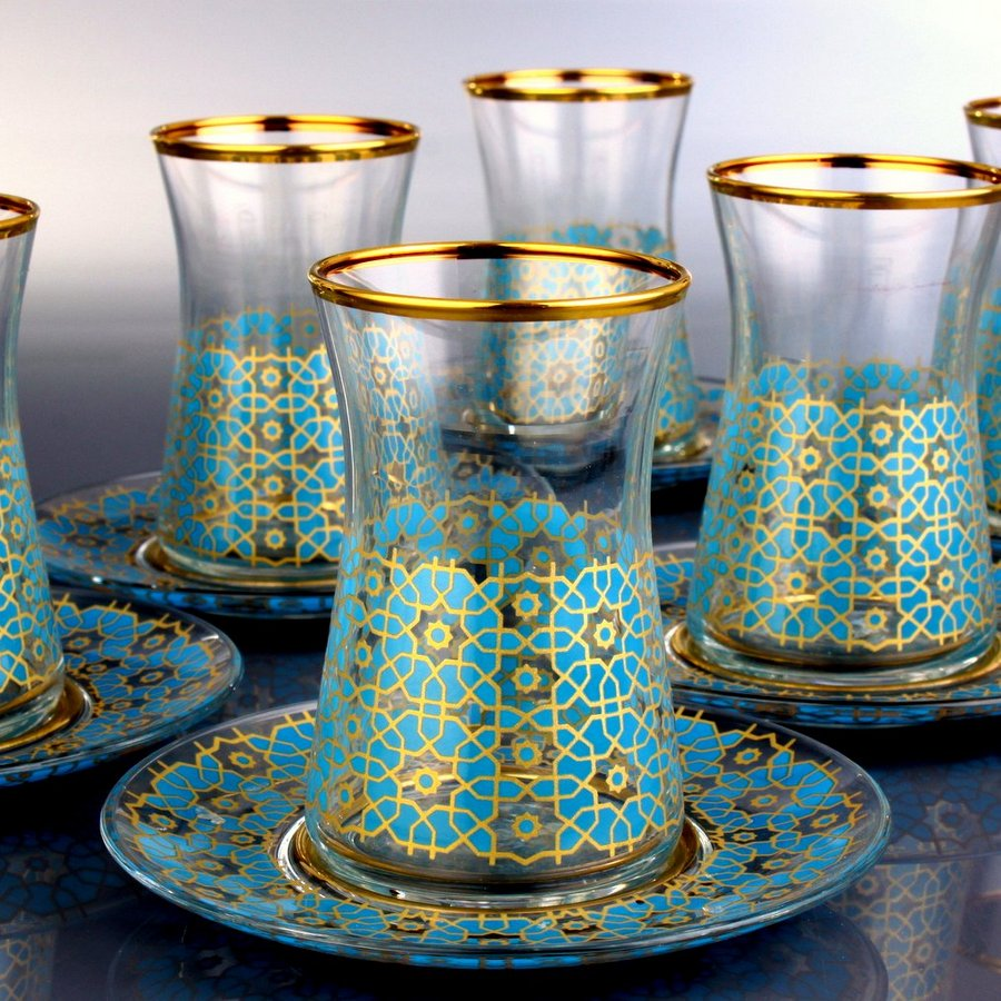 Turquois Color Thin Waist Turkish Tea Set Fairturk Com