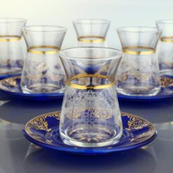 Turkish Tea Set With Blue Color Saucers 12pcs