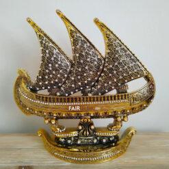 Gold Color Esma ul Husna Ship Design Islamic Sculpture