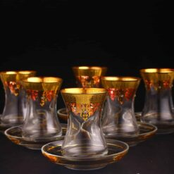 Thin Waist Turkish Tea Set Saucers Gold And Stone Coated 12pcs