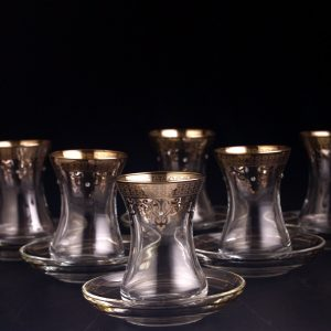 Silver Coated Thin Waist Turkish Tea Set With Saucers