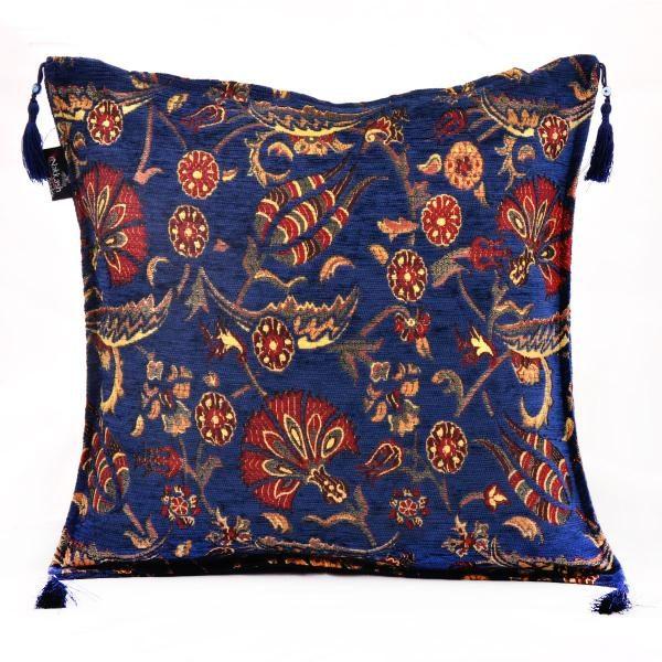 2x Ottoman Blue Handmade Turkish Kilim Pillow Case Tulip Design
