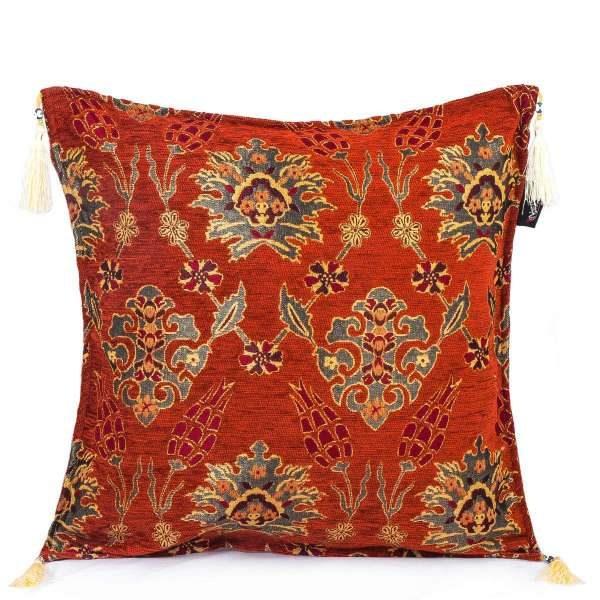 2x Orange Handmade Turkish Kilim Pillow Case Tulip Design