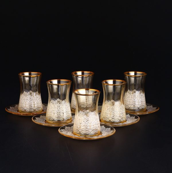 Amber Color Lace Design Thin Waist Turkish Tea Set With Saucers
