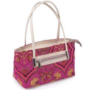 Authentic Pink Turkish Floral Design Kilim Hand Bag
