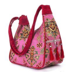 Pink Color Turkish Kilim Hand Bag Floral Patterned