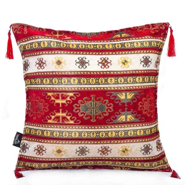 2x Red - Cream Color  Ethnic Turkish Cushion Case