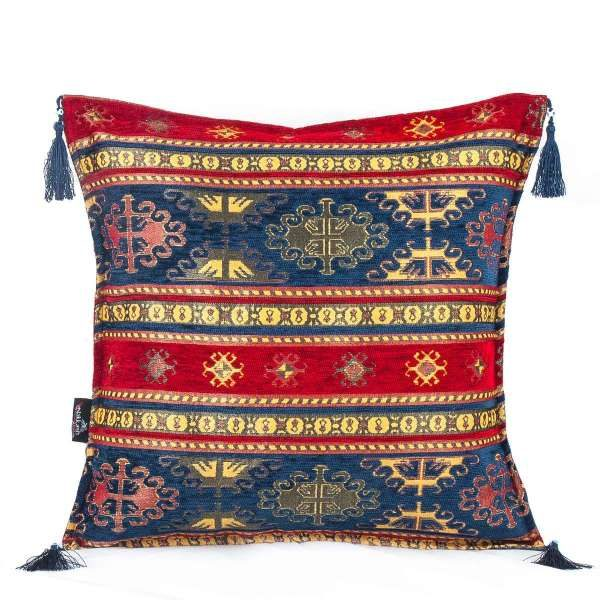 2x Red - Blue Ethnic Turkish Kilim Pillows