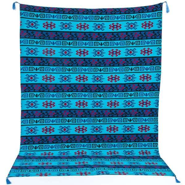 Authentic Turquoise Turkish Oushak Kilim Table Cloth