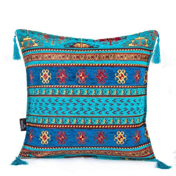 2x Turquois - Blue Turkish Kilim Pillow Case